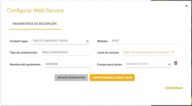 Parâmetros início procesos web service