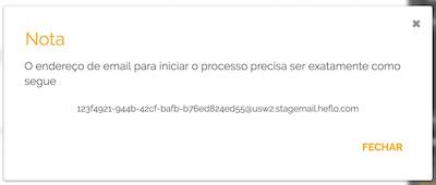 Aviso sobre a caixa de email criada e disponível para iniciar processos por e-mail
