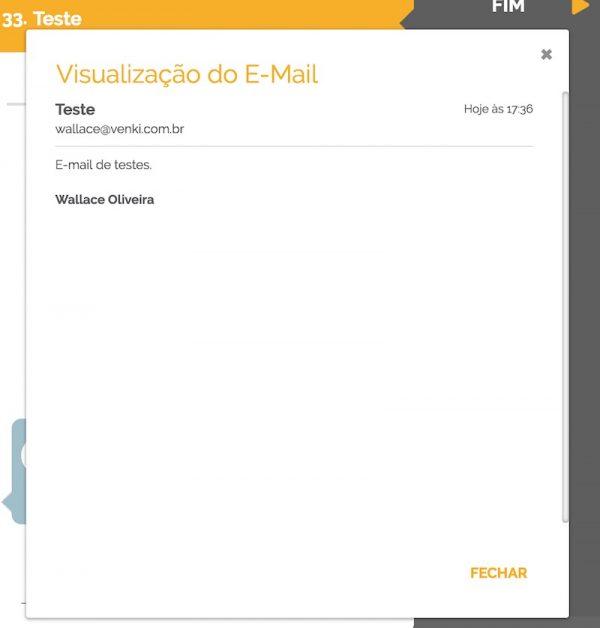 Visualização do e-mail que iniciou o processo de negócio